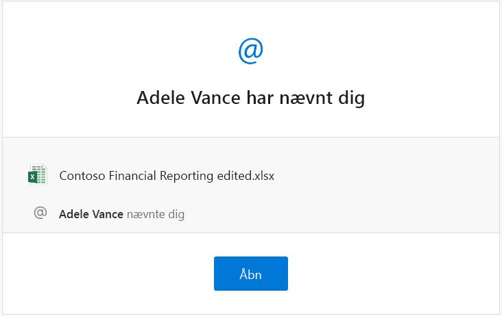 Skærmbillede af en omtalemeddelelsesmail fra Excel