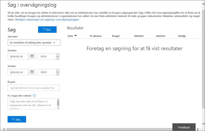 Office 365-aktivitetsrapport filtreret for oprettelse af invitation