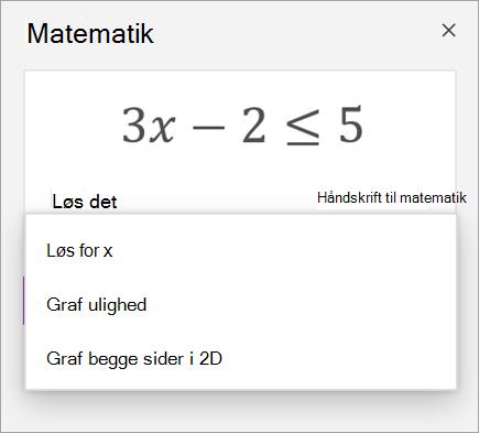 En ligning med en rulleliste med måder at løse den på.