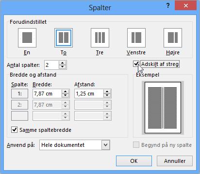 Dialogboksen Spalter, hvor Streg mellem er valgt