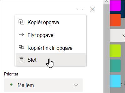 Click'Delete ' fra en opgaves oplysninger