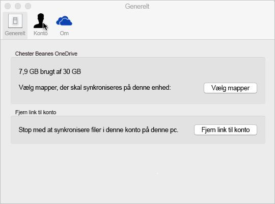 Synkroniser mappemarkering OneDrive til Mac