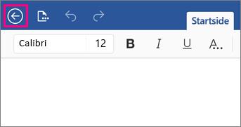 Viser knappen Tilbage i Word 2016 til iPad.