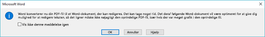 Word bekræfter, at det forsøge at konverteringsprocessen den PDF-fil, du har åbnet.