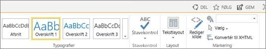 Skærmbillede af en del af SharePoint Online-båndet med kontrolelementerne Del, Følg og Gem.