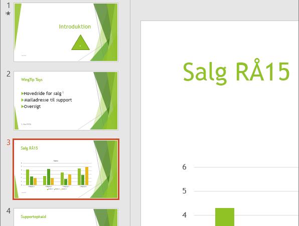 Viser ruden Slide med tredje slide valgt i PowerPoint