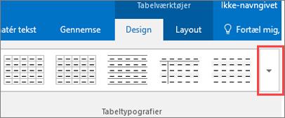 Skærmbillede af de første seks tabeltypografier og knappen Mere for at få vist alle tabeltypografier.