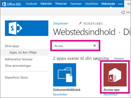 Søge efter en Access-app fra siden Tilføj en app i SharePoint