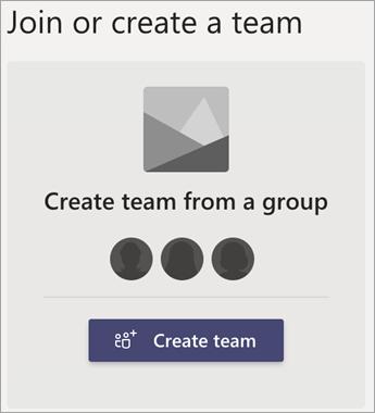 Opret et team fra en gruppe.