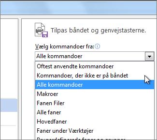 Tilpasse menuen Vælg kommandoer på værktøjslinjen Hurtig adgang
