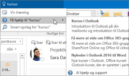 Fortæl mig om-værktøj i Outlook