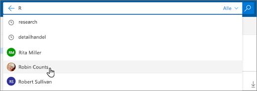 Et skærmbillede af foreslåede personer i søgeresultaterne