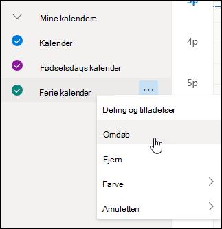 Et skærmbillede af kontekstmenuen for kalenderen med Omdøb markeret