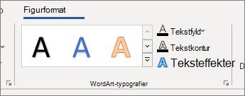 Gruppen WordArt-typografier med indstillinger