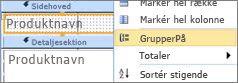 Markér indstillingen GrupperPå for at oprette en grupperet rapport