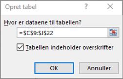 Skærmbillede af dialogboksen Opret tabel, som viser celleområdereferencen for den tabel, der oprettes.
