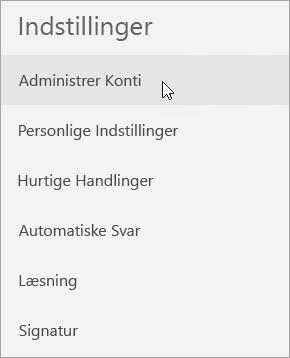 Viser valg af Administrer konti i menuen med indstillinger for Mail