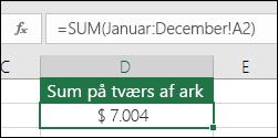 3d SUM på tværs af navngivne ark.  Formlen i D2 er =SUM(Januar:December!A2)