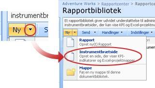Klik på pilen ud for menuen Ny, og klik derefter på Instrumentbrætside.