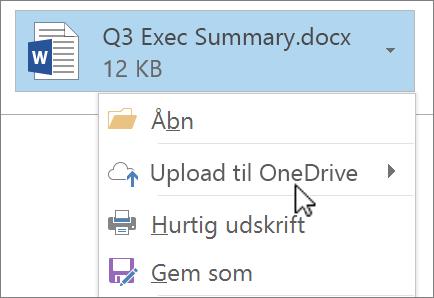 Skærmbillede af et meddelelsesvindue i Outlook, der viser en vedhæftet fil med kommandoen Overfør valgt.