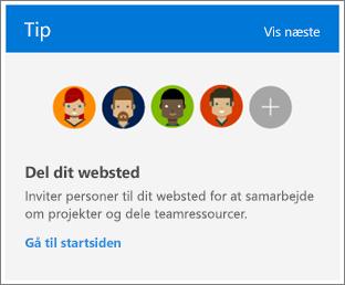 Afkrydsningsfeltet Tips på Webstedsindholdssiden