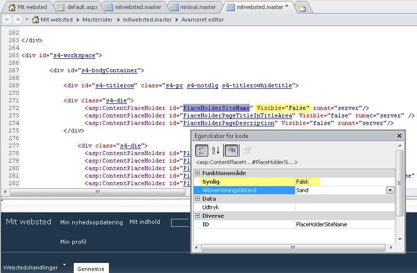 Dette viser egenskaberne for koden i kontrolelementet PlaceHolderSiteName.