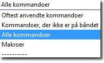 Listen Alle kommandoer i dialogboksen Excel-indstillinger