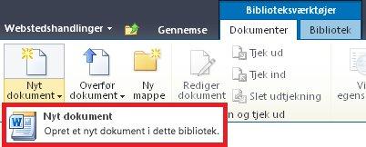 Føje et nyt dokument til et dokumentbibliotek