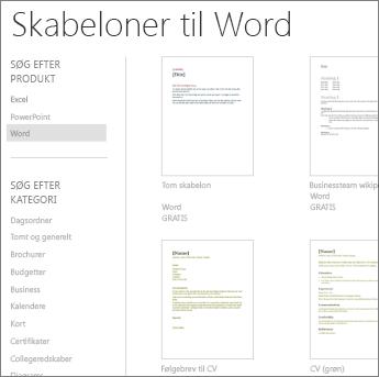 Word Online-skabeloner