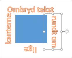 Tilføje WordArt rundt om en figur med lige kanter