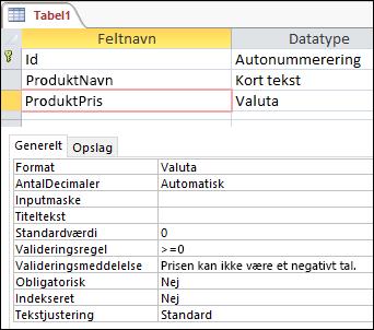Feltvalideringsregel vist i Access-tabeldesigner
