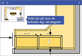 Du kan bruge Panorer vindue i øverste venstre hjørne af skærmen som en hjælp til at holde styr på, hvor du befinder dig i diagrammet.