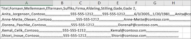 Et eksempel på en .csv-fil, der er gemt i .xls-format.