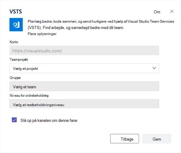 Dialogboksen til Visual Studio til at føje en kanban-området til en fane