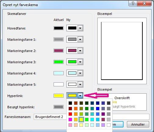Opret et nyt farveskema i Publisher for at ændre linkfarverne