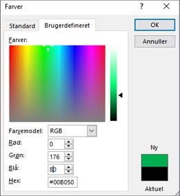 Viser brugerdefinerede farver