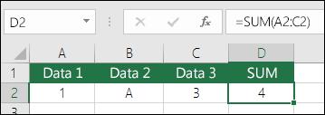 Korrekt formelbygning.  I stedet for  =A2+B2+C2 er celle D2's formel =SUM(A2:C2)