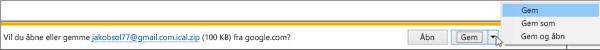 Vælg en placering, hvor du vil gemme den eksporterede Google-kalender.