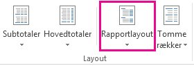 Knappen Rapportlayout under fanen Design
