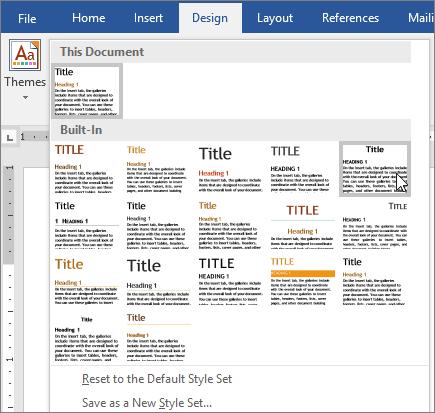 Temaer og typografier i Word