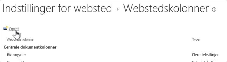 Knappen Opret på siden Webstedskolonner