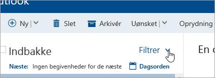 Et skærmbillede af knappen Filter