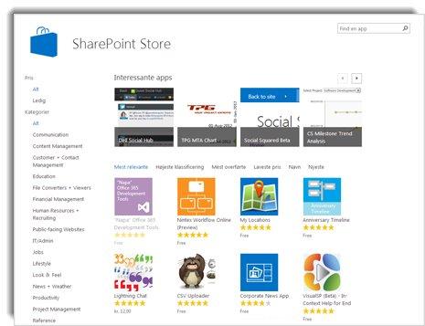 Skærmbillede af SharePoint Store