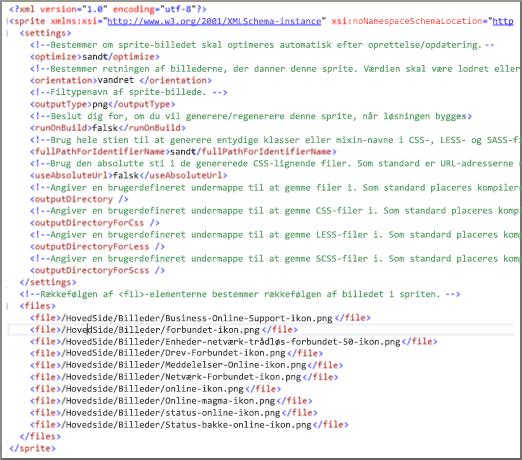Skærmbillede af sprite-XML-fil