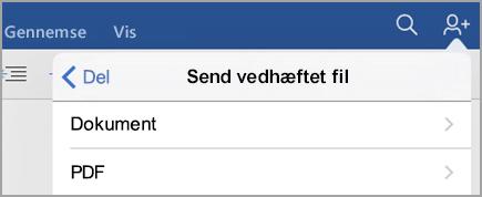 Vælg Dokument eller PDF