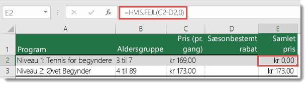 Brug HVIS.FEJL() til at undertrykke alle fejl – formlen i celle E2 er =HVIS.FEJL(C2-D2,0)