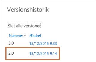 Dialogboksen Versionshistorik i OneDrive for Business