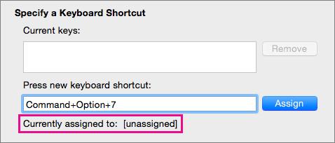 Word identificerer, når du har trykket på en tastekombination, som endnu ikke er tildelt en kommando eller en makro.