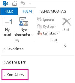 Delt mappe vises i mappelisten i Outlook 2013