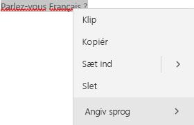 Markeret fransk tekst, der viser genvejsmenuen til at angive sprog.